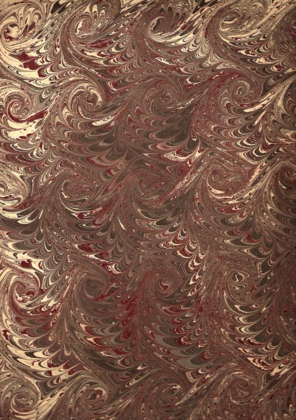 papier marmurkowy szaro-bordowa fala, papier introligatorski, papier marmoryzowany, papier marmurkowy malowany ręcznie na powierzchni wody, marbling art