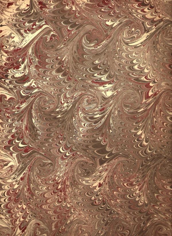 papier marmurkowy szaro-bordowe fale, papier introligatorski, papier marmoryzowany, papier marmurkowy malowany ręcznie na powierzchni wody, marbling art