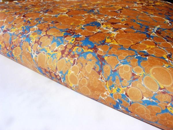 papier marmurkowy niebiesko-ceglasty battal, papier marmoryzowany, papier introligatorski