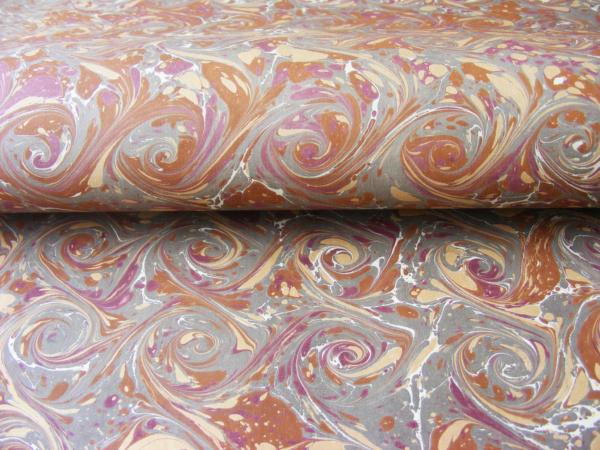 papier marmurkowy brązowo-szare wiry, papier marmoryzowany, papier marmurkowy malowany ręcznie na powierzchni wody, papier introligatorski, dla konserwatorów papieru, marbled paper