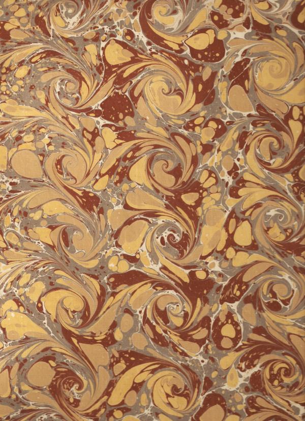 papier marmurkowy brązowo-złote wiry,papier marmoryzowany, papier marmurkowy malowany ręcznie na powierzchni wody, papier introligatorski, dla konserwatorów papieru, marbling art