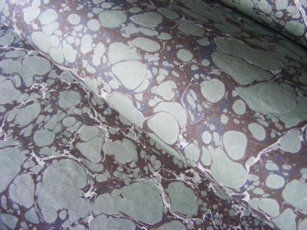 papier marmurkowy szaro-zielony,papier marmoryzowany, papier marmurkowy malowany ręcznie na powierzchni wody, papier introligatorski, dla konserwatorów papieru, marbled paper