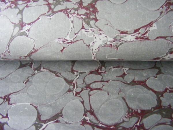 papier marmurkowy szaro-bordowy,papier marmoryzowany, papier marmurkowy malowany ręcznie na powierzchni wody, papier introligatorski, dla konserwatorów papieru, marbled paper