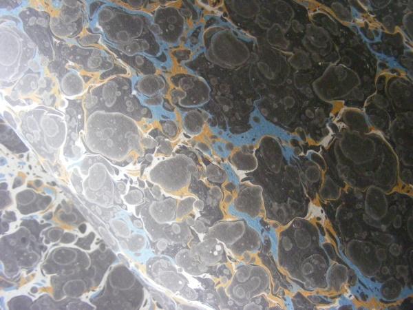 papier marmurkowy szaro-niebiesko-żółty, papier marmoryzowany, papier marmurkowy malowany ręcznie na powierzchni wody, papier introligatorski, dla konserwatorów papieru, hertmanus, marbled paper