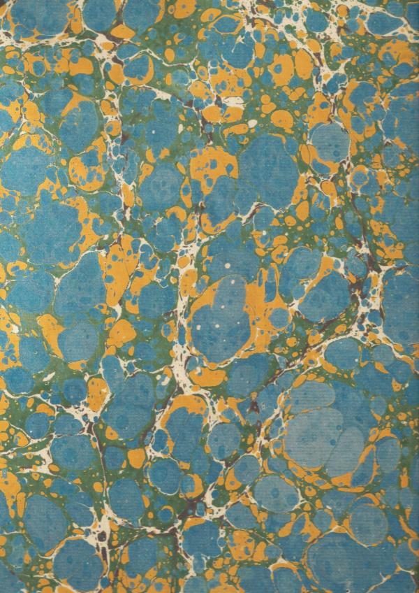 papier marmurkowy niebiesko-żółty, papier marmoryzowany, papier marmurkowy malowany ręcznie na powierzchni wody, papier introligatorski, dla konserwatorów papieru, hertmanus, marbled paper