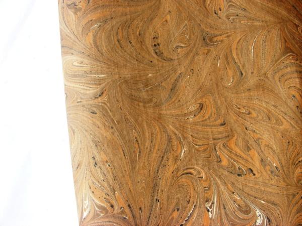 papier marmurkowy brązowy ziarnisty, papier marmoryzowany, papier marmurkowy malowany ręcznie na powierzchni wody, papier introligatorski, dla konserwatorów papieru, hertmanus, marbled paper