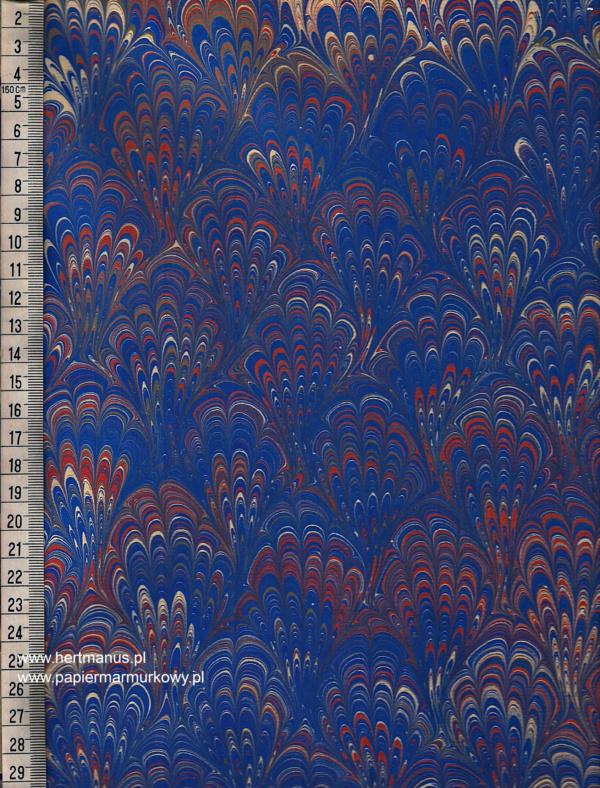 papier marmurkowy niebieski bouquet, papier marmoryzowany, papier marmurkowy malowany ręcznie na powierzchni wody, papier introligatorski, dla konserwatorów papieru, hertmanus, marbled paper