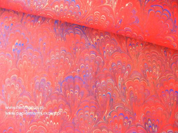 papier marmurkowy czerwony bouquet, papier marmoryzowany, papier marmurkowy malowany ręcznie na powierzchni wody, papier introligatorski, dla konserwatorów papieru, hertmanus, marbled paper