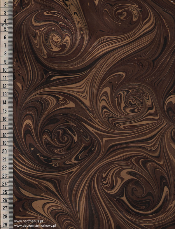 papier marmurkowy brązowo-czarne wiry, papier marmoryzowany, papier marmurkowy malowany ręcznie na powierzchni wody, papier introligatorski, dla konserwatorów papieru, hertmanus, marbled paper