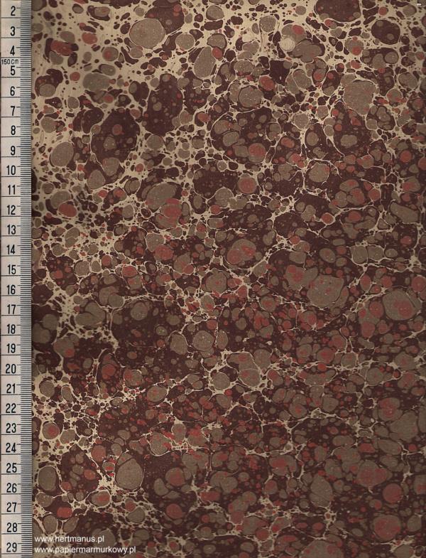 papier marmurkowy brązowo-czerwony, papier marmoryzowany, papier marmurkowy malowany ręcznie na powierzchni wody, papier introligatorski, dla konserwatorów papieru, hertmanus, marbled paper