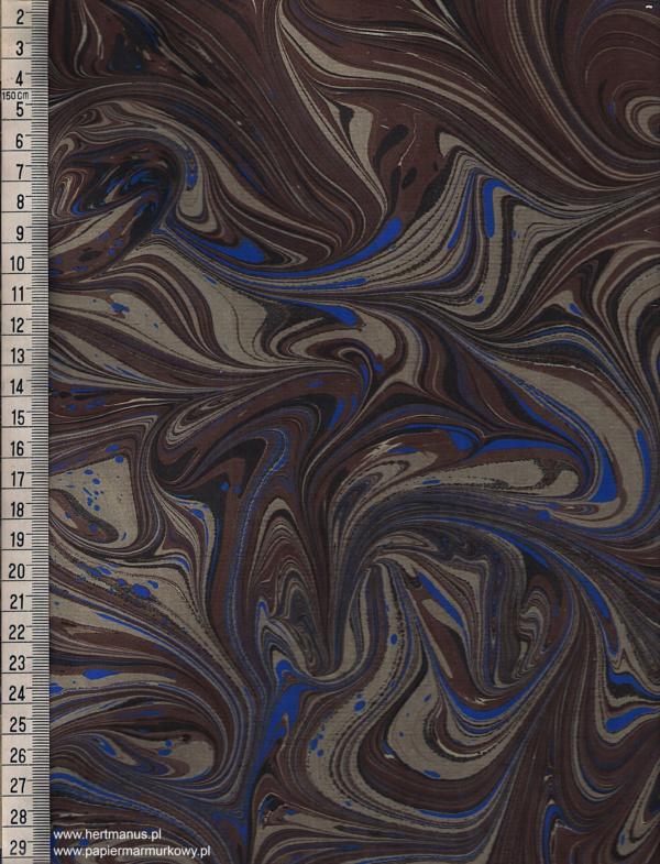 papier marmurkowy brązowo-czarno-niebieski, papier marmoryzowany, papier marmurkowy malowany ręcznie na powierzchni wody, papier introligatorski, dla konserwatorów papieru, hertmanus, marbled paper