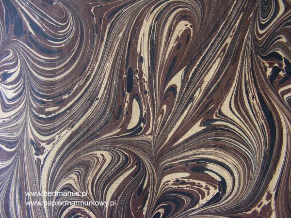 papier marmurkowy brązowo-czarny fantazyjny, papier marmoryzowany, papier marmurkowy malowany ręcznie na powierzchni wody, papier introligatorski, dla konserwatorów papieru, hertmanus, marbled paper