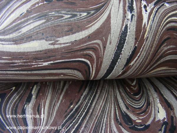 papier marmurkowy brązowo-czarno-szary fantazyjny, papier marmoryzowany, papier marmurkowy malowany ręcznie na powierzchni wody, papier introligatorski, materiały do konserwacji papieru, hertmanus, marbled paper