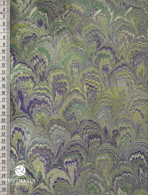 papier marmurkowy zielono-fioletowy bouquet, papier marmoryzowany, papier marmurkowy malowany ręcznie na powierzchni wody, papier introligatorski, dla konserwatorów papieru, hertmanus, marbled paper