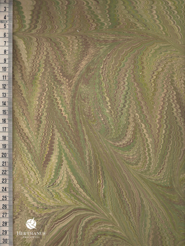 papier marmurkowy grzebieniowy zielony, papier marmoryzowany, papier marmurkowy malowany ręcznie na powierzchni wody, papier introligatorski, dla konserwatorów papieru, hertmanus, marbled paper