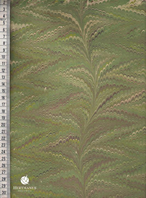 papier marmurkowy grzebieniowy zielone liście, papier marmoryzowany, papier marmurkowy malowany ręcznie na powierzchni wody, papier introligatorski, dla konserwatorów papieru, hertmanus, marbled paper
