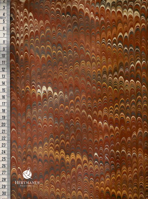 papier marmurkowy brązowy grzebieniowy 2, papier marmoryzowany, papier marmurkowy malowany ręcznie na powierzchni wody, papier introligatorski, dla konserwatorów papieru, hertmanus, marbled paper