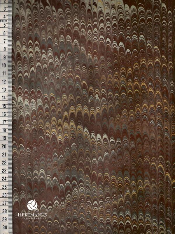 papier marmurkowy szaro-brązowy grzebieniowy ciemny, papier marmoryzowany, papier marmurkowy malowany ręcznie na powierzchni wody, papier introligatorski, dla konserwatorów papieru, hertmanus, marbled paper
