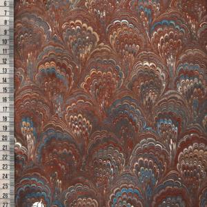 papier marmurkowy brazowo-niebieski drobny bouquet, papier marmoryzowany, papier marmurkowy malowany ręcznie na powierzchni wody, papier introligatorski, dla konserwatorów papieru, hertmanus, marbled paper