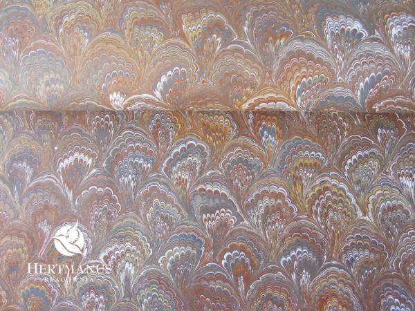 papier marmurkowy szaro-brązowy drobny bouquet (jasny), papier marmoryzowany, papier marmurkowy malowany ręcznie na powierzchni wody, papier introligatorski, dla konserwatorów papieru, hertmanus, marbled paper