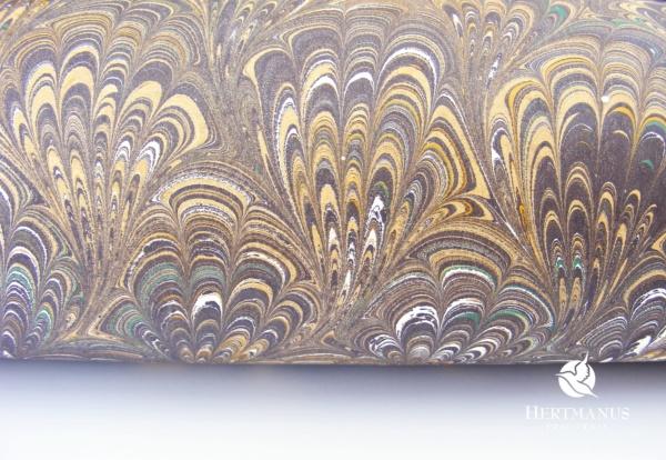 papier marmurkowy brązowe pióra boquet, papier marmoryzowany, papier marmurkowy malowany ręcznie na powierzchni wody, papier introligatorski, dla konserwatorów papieru, hertmanus, marbled paper
