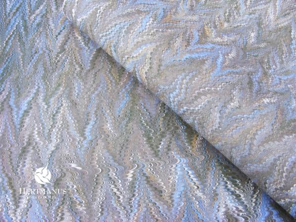 papier marmurkowy szaro-błękitny, papier marmoryzowany, papier marmurkowy malowany ręcznie na powierzchni wody, papier introligatorski, dla konserwatorów papieru, hertmanus, marbled paper