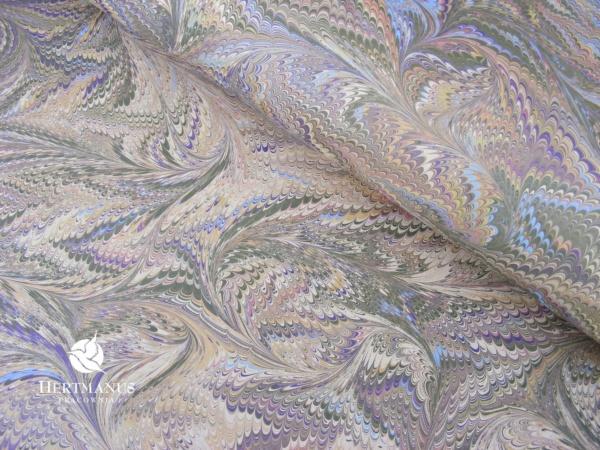 papier marmurkowy grzebieniowy fantazyjny Savile, papier marmoryzowany, papier marmurkowy malowany ręcznie na powierzchni wody, papier introligatorski, dla konserwatorów papieru, hertmanus, marbled paper