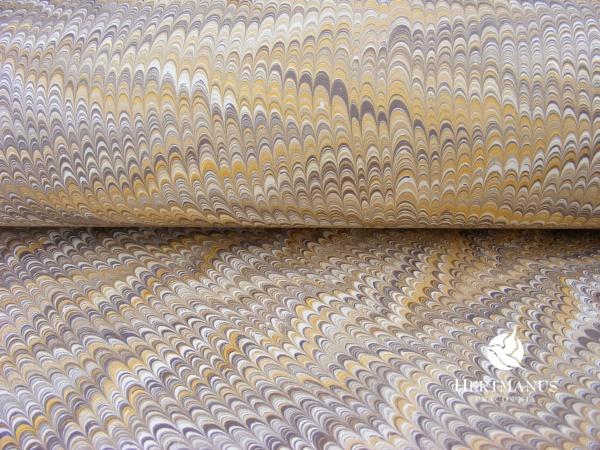 papier mamrurkowy żółto-brązowy, papier marmoryzowany, papier marmurkowy malowany ręcznie na powierzchni wody, papier introligatorski, dla konserwatorów papieru, hertmanus, marbled paper