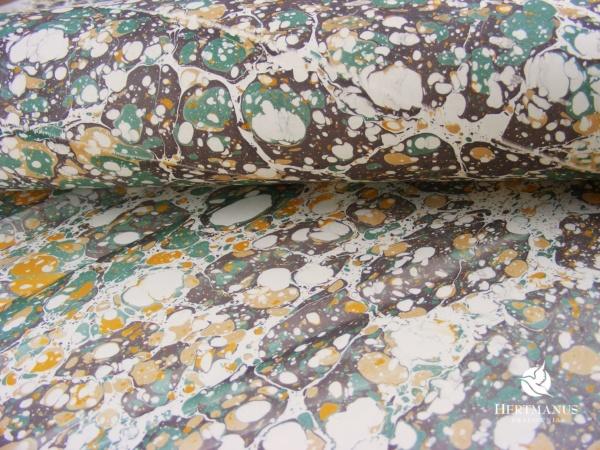 papier marmurkowy zielono-brązowy, papier marmoryzowany, papier marmurkowy malowany ręcznie na powierzchni wody, papier introligatorski, dla konserwatorów papieru, hertmanus, marbled paper
