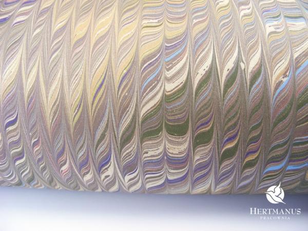papiere marmurkowy grzebieniowy fantazyjny, papier marmoryzowany, papier marmurkowy malowany ręcznie na powierzchni wody, papier introligatorski, dla konserwatorów papieru, hertmanus, marbled paper