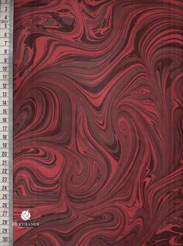 papier marmurkowy rosso fala, papier marmoryzowany, papier marmurkowy malowany ręcznie na powierzchni wody, papier introligatorski, dla konserwatorów papieru, hertmanus, marbled paper