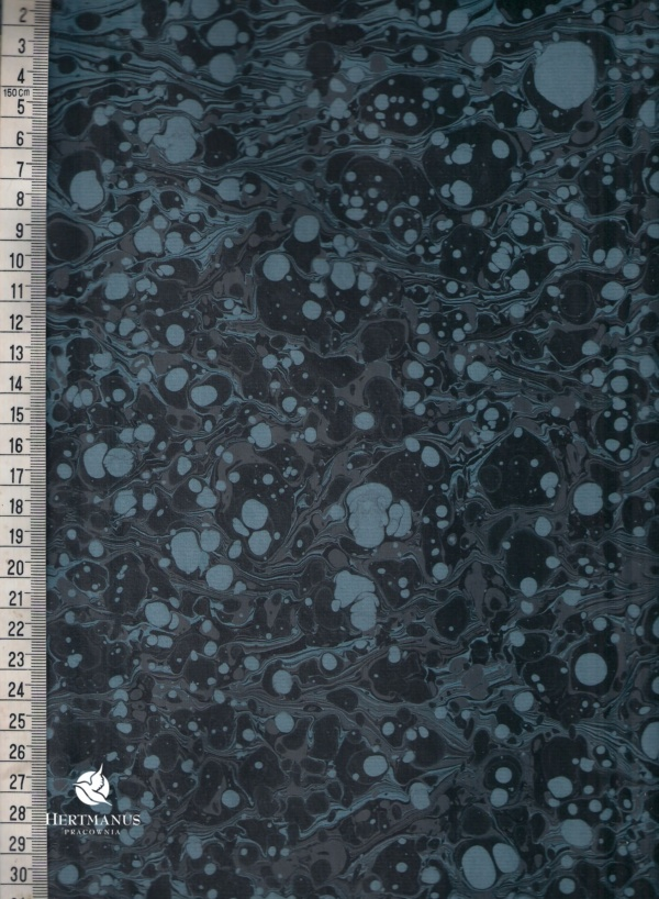 papier marmurkowy azzurro grafitowy battal, papier marmoryzowany, papier marmurkowy malowany ręcznie na powierzchni wody, papier introligatorski, dla konserwatorów papieru, hertmanus, marbled paper