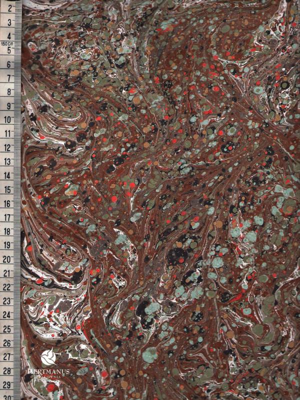 papier marmurkowy brązowy drobny wzór battal, papier marmoryzowany, papier marmurkowy malowany ręcznie na powierzchni wody, papier introligatorski, dla konserwatorów papieru, hertmanus, marbled paper