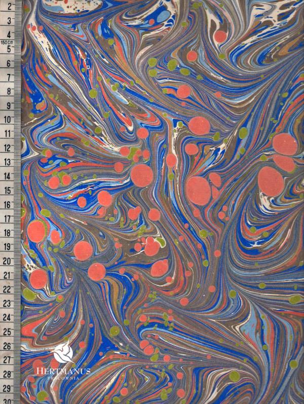 papier marmurkowy niebiesko-pomarańczowe fale, papier marmoryzowany, papier marmurkowy malowany ręcznie na powierzchni wody, papier introligatorski, dla konserwatorów papieru, hertmanus, marbled paper