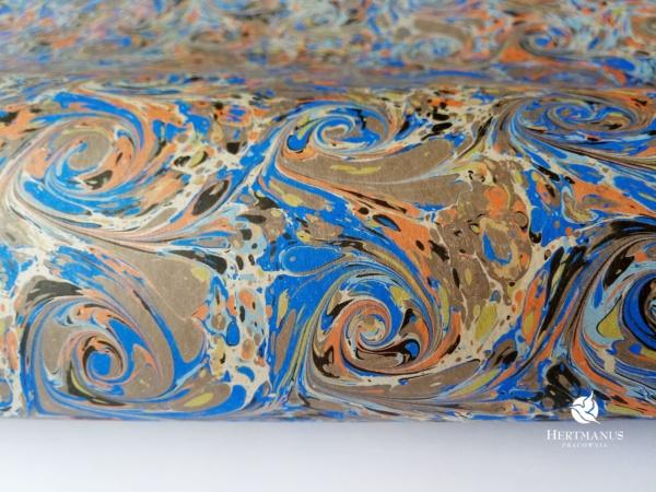 papier marmurkowy niebiesko-szare wiry, papier marmoryzowany, papier marmurkowy malowany ręcznie na powierzchni wody, papier introligatorski, dla konserwatorów papieru, hertmanus, marbled paper