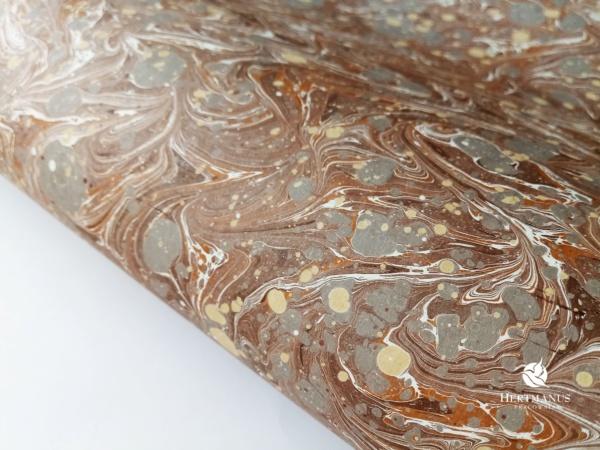 papier marmurkowy brązowy V, papier marmoryzowany, papier marmurkowy malowany ręcznie na powierzchni wody, papier introligatorski, dla konserwatorów papieru, hertmanus, marbled paper