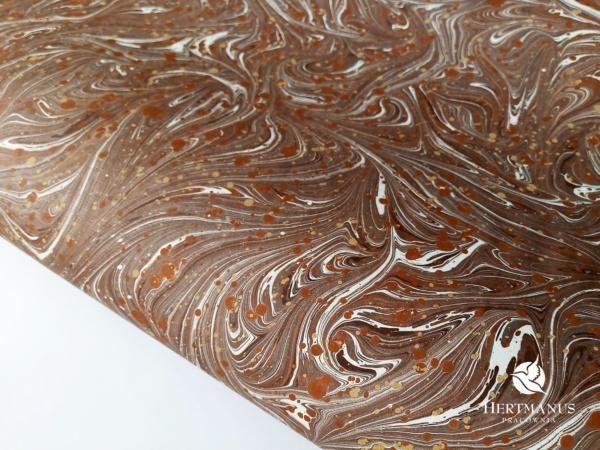 papier marmurkowy brązowy II, papier marmoryzowany, papier marmurkowy malowany ręcznie na powierzchni wody, papier introligatorski, dla konserwatorów papieru, hertmanus, marbled paper
