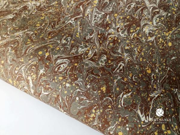 papier marmurkowy brązowy IV, papier marmoryzowany, papier marmurkowy malowany ręcznie na powierzchni wody, papier introligatorski, dla konserwatorów papieru, hertmanus, marbled paper