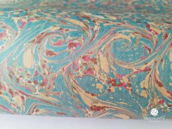papier marmurkowy niebieskie wiry, papier marmoryzowany, papier marmurkowy malowany ręcznie na powierzchni wody, papier introligatorski, dla konserwatorów papieru, hertmanus, marbled paper