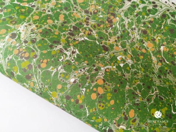Papier marmurkowy zielony battal, papier marmoryzowany, papier marmurkowy malowany ręcznie na powierzchni wody, papier introligatorski, dla konserwatorów papieru, hertmanus, marbled paper