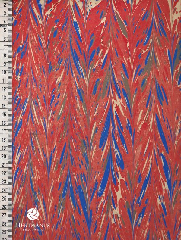 papier marmurkowy czerwony gelgit, papier marmoryzowany, papier marmurkowy malowany ręcznie na powierzchni wody, papier introligatorski, dla konserwatorów papieru, hertmanus, marbled paper