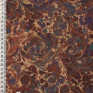 papier marmurkowy brązowo-fioletowe wiry, papier marmoryzowany, papier marmurkowy malowany ręcznie na powierzchni wody, papier introligatorski, dla konserwatorów papieru, hertmanus, marbled paper