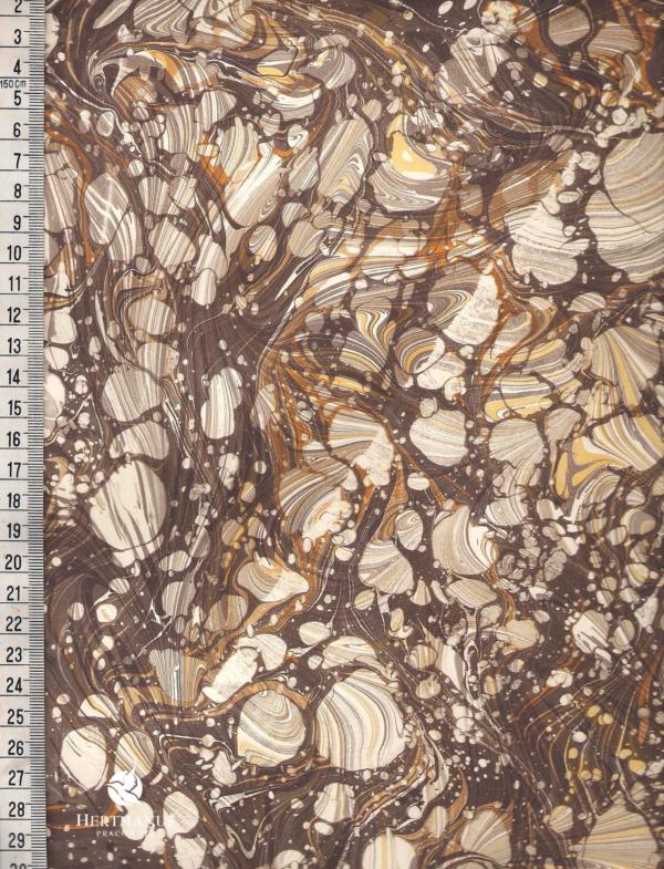 papier marmurkowy brązowo-żółty fantazyjny, papier marmoryzowany, papier marmurkowy malowany ręcznie na powierzchni wody, papier introligatorski, dla konserwatorów papieru, hertmanus, marbled paper