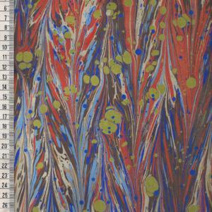 papier marmurkowy niebiesko-pomarańczowy gelgit, papier marmoryzowany, papier marmurkowy malowany ręcznie na powierzchni wody, papier introligatorski, dla konserwatorów papieru, hertmanus, marbled paper