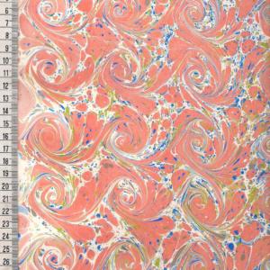 papier marmurkowy pomarańczowo-kremowe wiry, papier marmoryzowany, papier marmurkowy malowany ręcznie na powierzchni wody, papier introligatorski, dla konserwatorów papieru, hertmanus, marbled paper