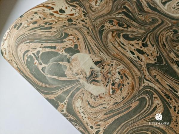 papier marmurkowy szaro-brązowy unikat, papier marmoryzowany, papier marmurkowy malowany ręcznie na powierzchni wody, papier introligatorski, dla konserwatorów papieru, hertmanus, marbled paper