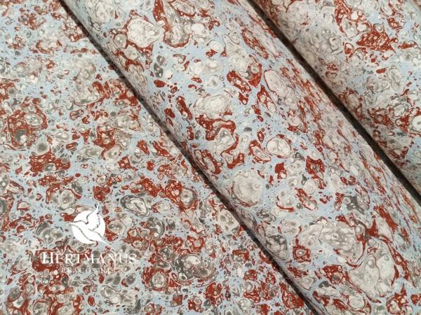 papier marmurkowy błękitno-szaro-brązowy marmur, papier marmoryzowany, papier marmurkowy malowany ręcznie na powierzchni wody, papier introligatorski, dla konserwatorów papieru, hertmanus, marbled paper