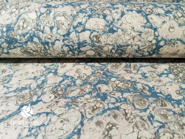 papier marmurkowy szaro-niebieski zenzero II, papier marmoryzowany, papier marmurkowy malowany ręcznie na powierzchni wody, papier introligatorski, dla konserwatorów papieru, hertmanus, marbled paper