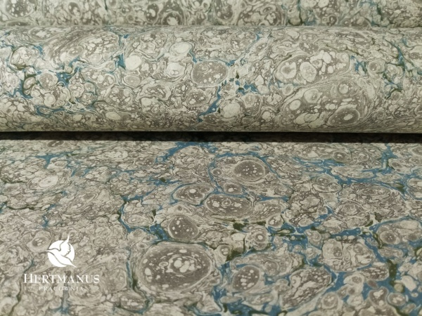 papier marmurkowy szaro-niebieski zenzero, papier marmoryzowany, papier marmurkowy malowany ręcznie na powierzchni wody, papier introligatorski, dla konserwatorów papieru, hertmanus, marbled paper