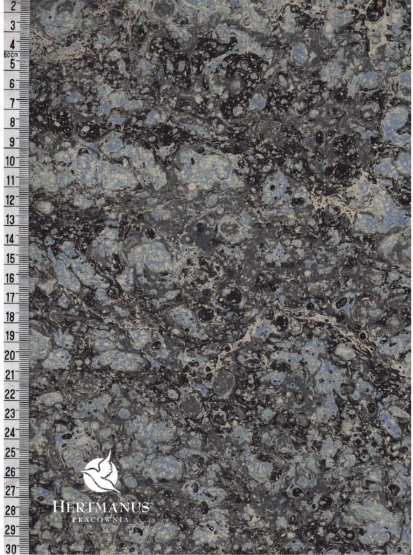 papier marmurkowy grafitowo-niebieski marmur, papier marmoryzowany, papier marmurkowy malowany ręcznie na powierzchni wody, papier introligatorski, dla konserwatorów papieru, hertmanus, marbled paper